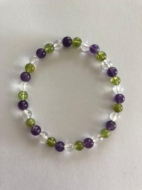 Amethyst/Clear Quartz/Peridot Bracelet