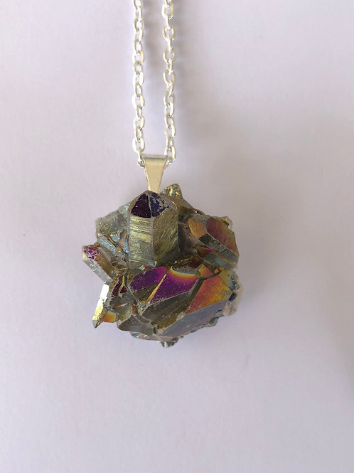Flame Aura Quartz Necklace