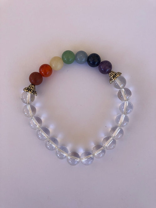 Chakra Bracelet with Clear Quartz