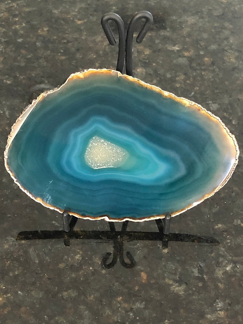 Blue Agate Slice With Stand