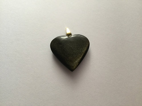 Gold Sheen Obsidian Heart Pendant-Gold Bail
