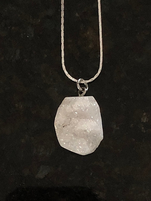 Snow Quartz Druzy Necklace