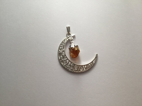 Silver Plated Moon-Citrine Dangle Pendant