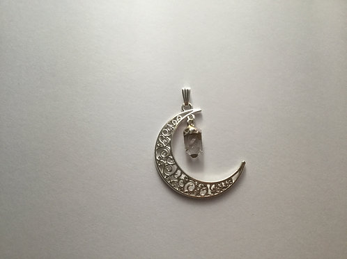 Silver Plated Moon-Clear Quartz Dangle Pendant