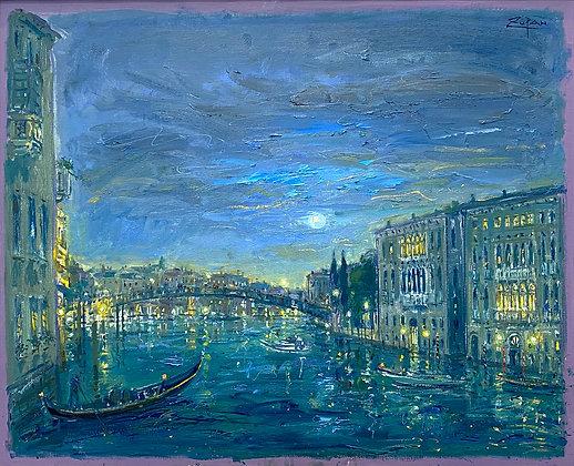 Bruno Zupan -Academy Bridge at Twilight, Grand Canal, Venice