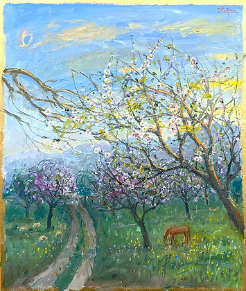 Bruno Zupan -Almond Fields, Sheep and Horse
