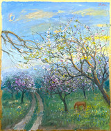 Almond Fields, Sheep and Horse