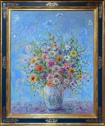 Bouquet in Chinese Vase, Light Blue Ground