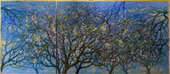 Triptych: Field of Almond Blossoms