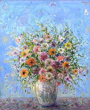 Bruno Zupan -Bouquet in Chinese Vase, Light Blue Ground