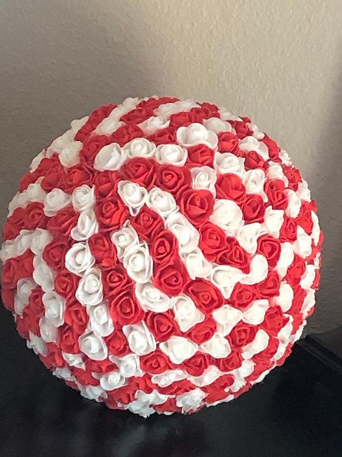 """12"""" Red & White Flower Ball"""