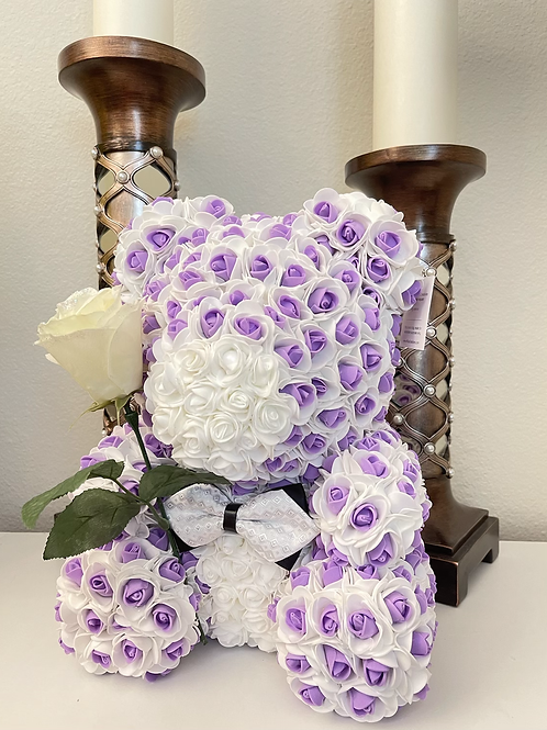 Two Tone Rose Bear With White Rose