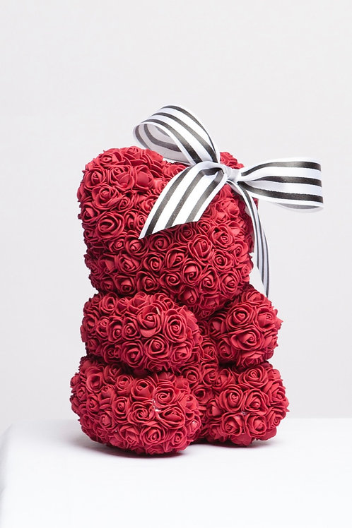 Burgundy Lovely Rose Bear With Large Bow
