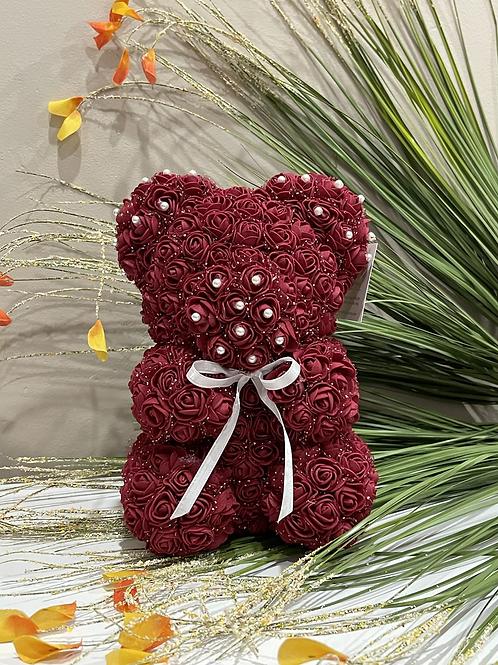 Burgundy Rose Bear