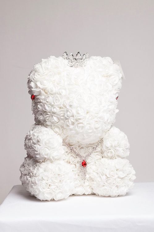Large White Princess Rose Bear With Jewelry