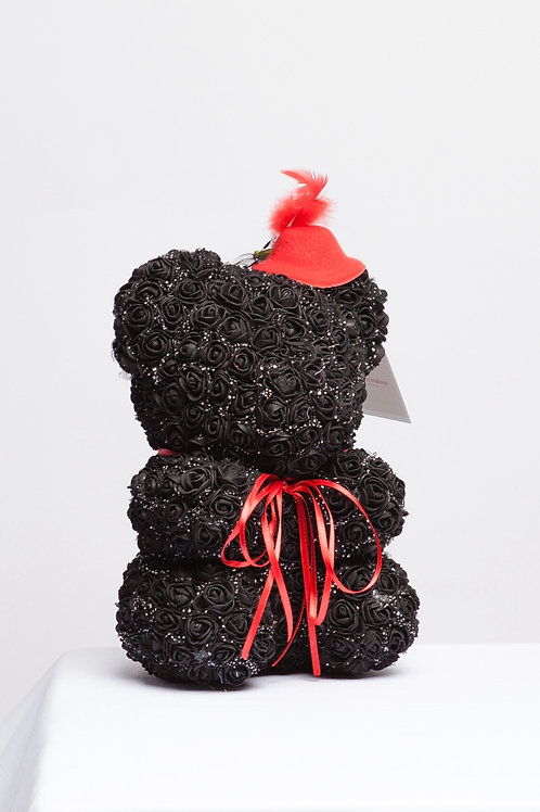 Adorable Black Rose Bear With Red Hat