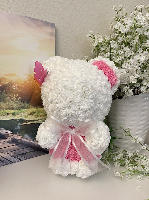 White Bear With Pink Butterfly