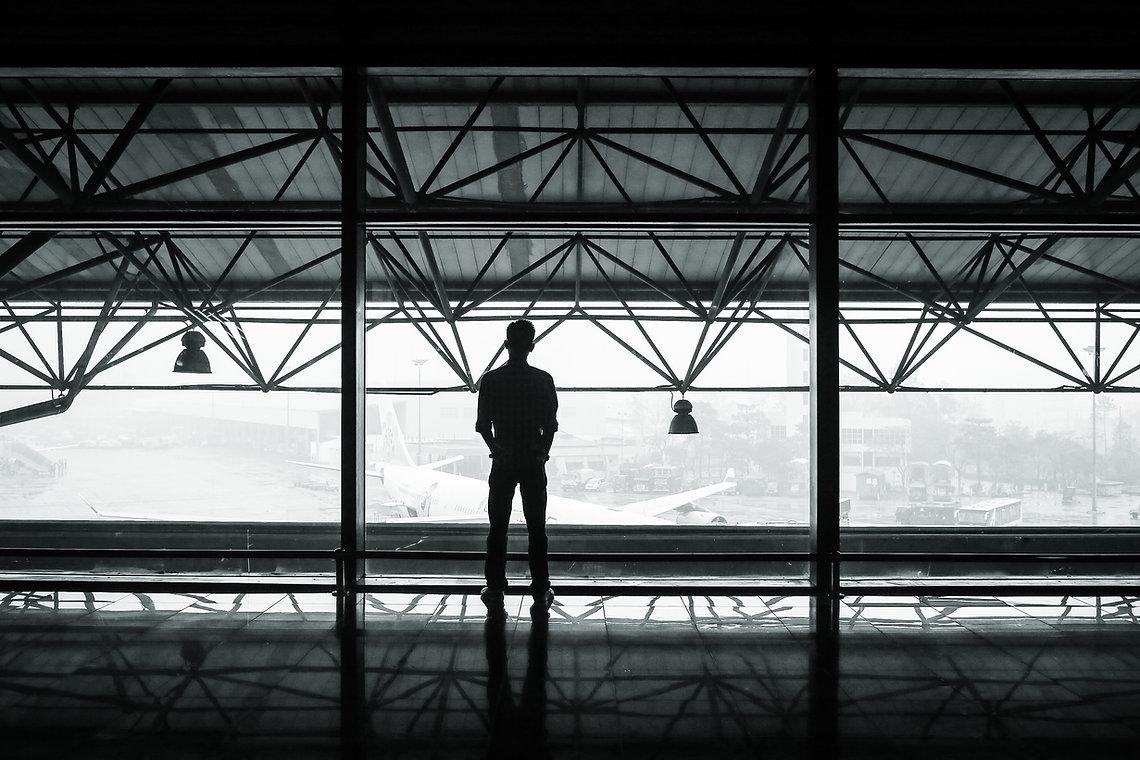 Man overlooking skyline