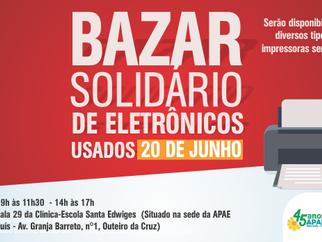 """APAE realizará """"Bazar Solidário"""" de eletrônicos"""