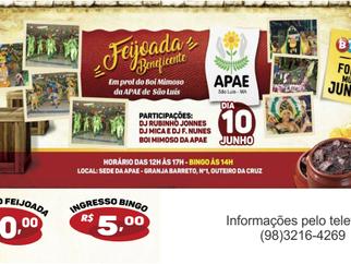 APAE de São Luís realiza a I Feijoada Beneficente em prol do Boi Mimoso