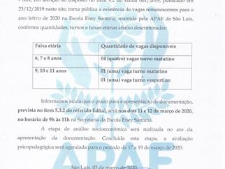 COMUNICADO - vagas remanescentes para o ano letivo de 2020 na Escola Eney Santana, mantida pela APAE
