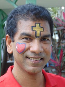 Fr. Howie in war paint