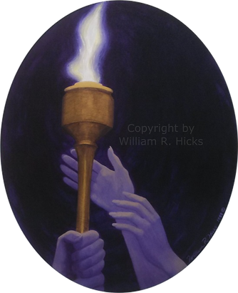 """""""Torch Pass"""" painting by William R. Hicks donated to City of Hope - prints available on Etsy"""