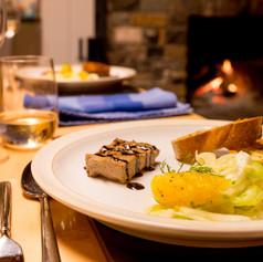 Walnut and lentil pate, fennel and orange salad, olive oil toasts