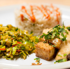 Crispy fried tofu with peanut satay sauce, fried rice, shredded sprouts with chilli and ginger