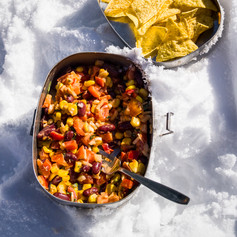 Mexican salad with sweetcorn, kidney beans, red pepper with a spicy tomato dressing and tortilla chips