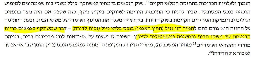 בנק ישראל מחיר למשתכן דוח היציבות הפיננסית משכנתא סיכון