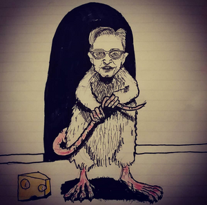 Drawing of a rat with a man's head.