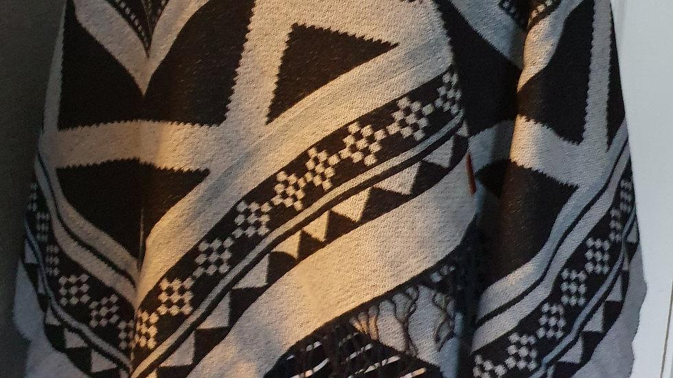 Superdry Kaya Blanket Cape Black & Blue - RRP £48