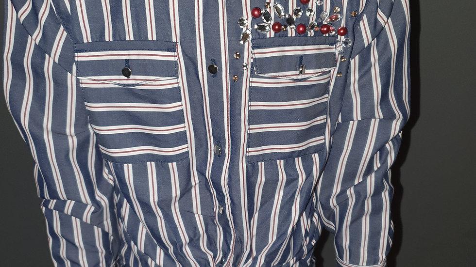 River Island Stripe Sequin Tie Front Blouse Age 5-6 RRP £18
