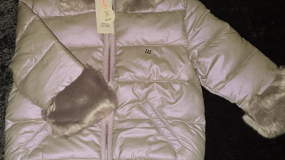 River Island Faux Fur Trim Coat - RRP £35 Age 18-24 mths