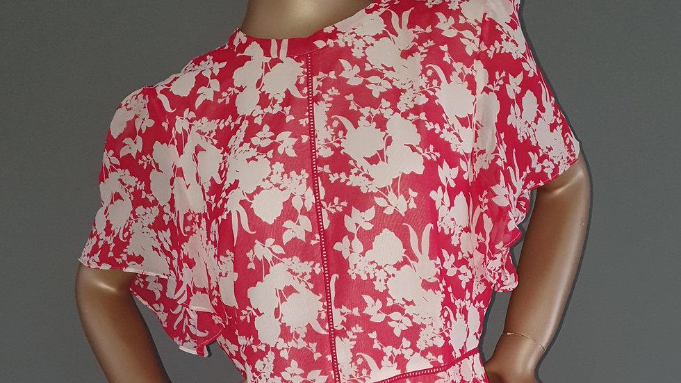 Oasis Floral Chiffon Skater Dress Size 14 RRP £64