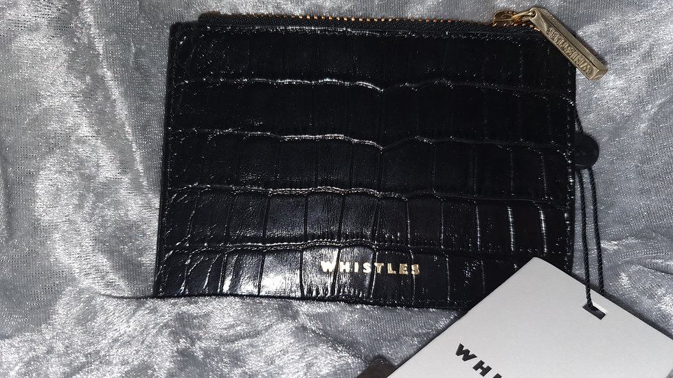 Whistles shiny Leather Croc Detail Black Coin Purse - RRP £30