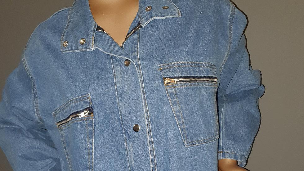 Zip Pocket Cropped Denim Jacket size 12 RRP £50