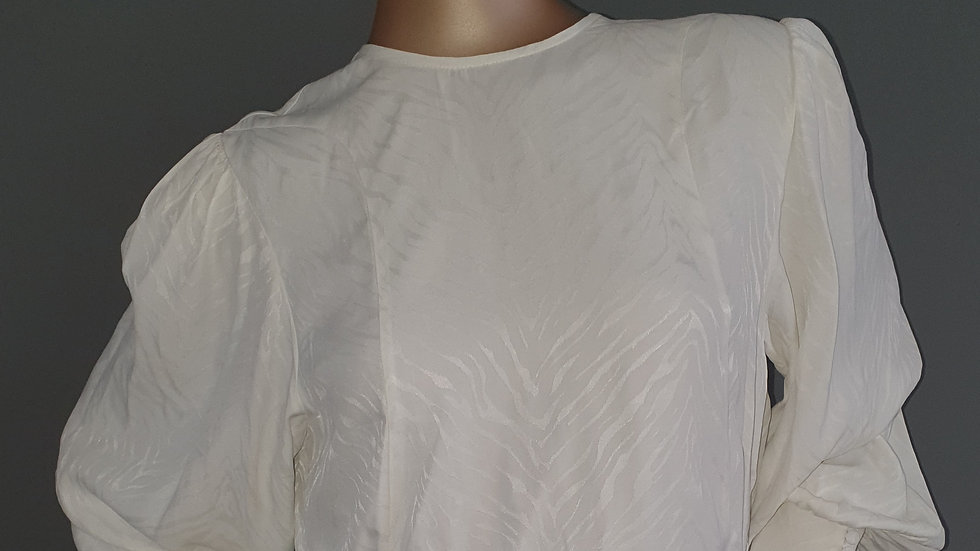Topshop Jacquard Seamed Blouse Ivory Size 10 RRP 44