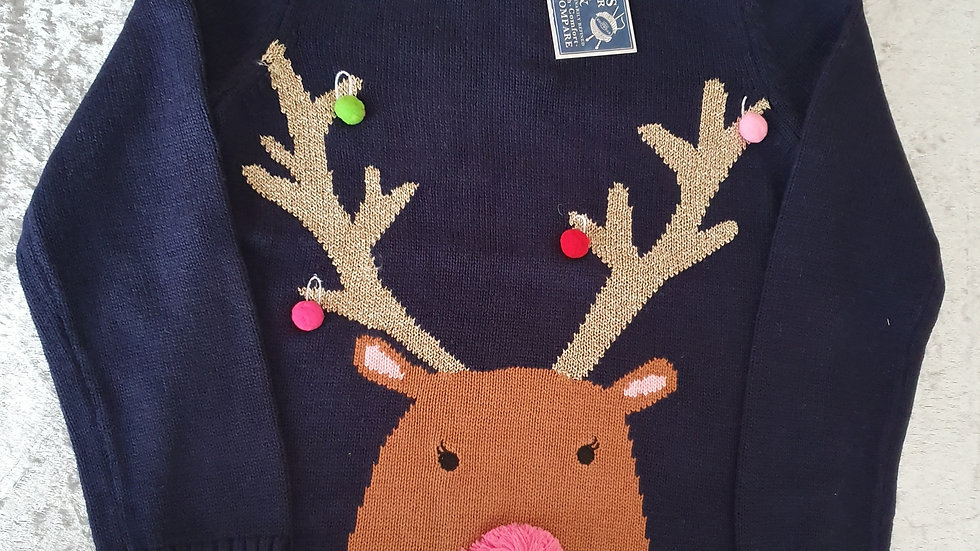 Girls Festive Merry Jumper By Joules - RRP£35 Age 5 yrs ONLY