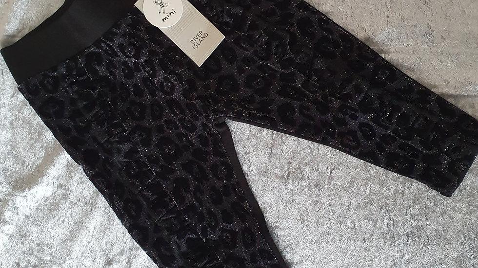 River Island Black Leopard Flock Legging - RRP £10 Age 3-6 mths