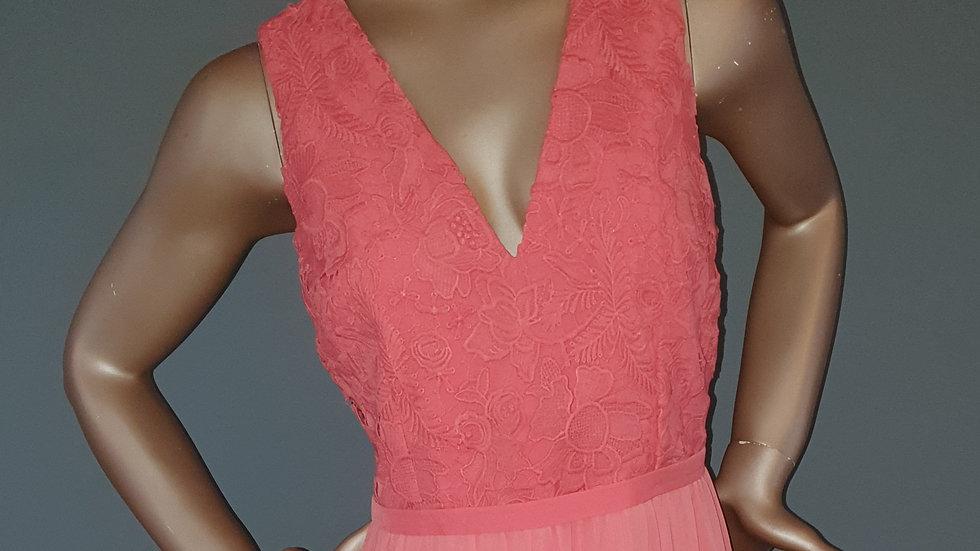 Little Mistress Lace Top Chiffon Maxi Dress Size 14 RRP £119