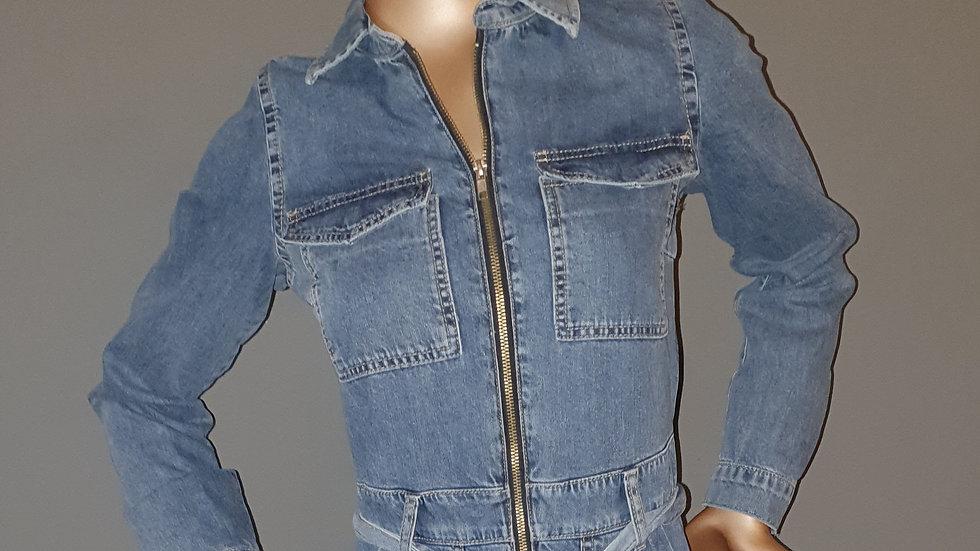 Michelle Keegan Zip Front Denim Boiler Suit Size 10 RRP 69