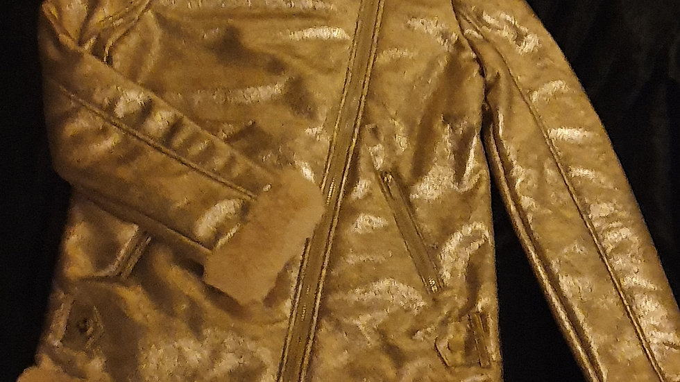River Island Gold Shimmer Faux Fur Coat RRP - £45 Age 11-12 years ONLY