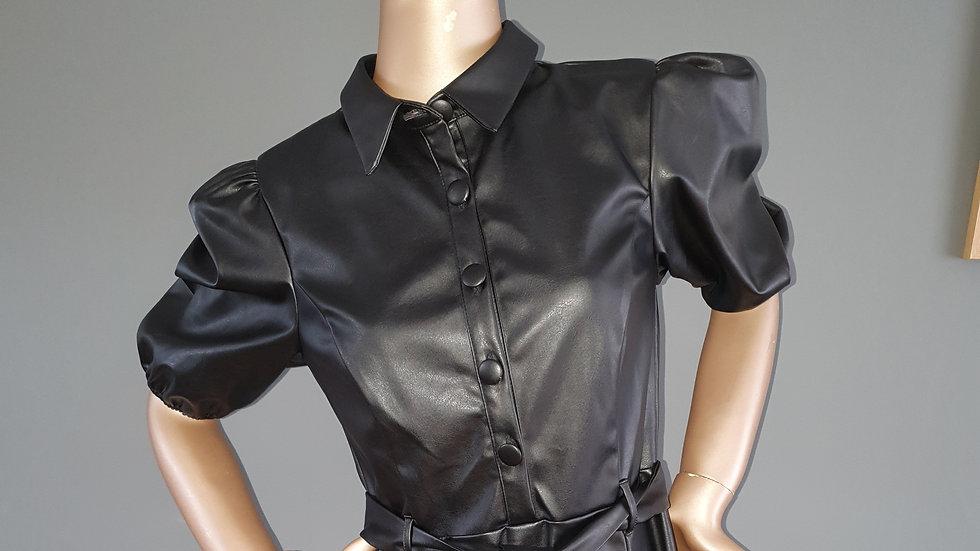 Michelle Keegan Faux Leather Mini Shirt Dress size 12 RRP £65