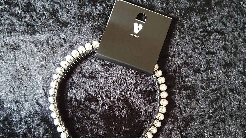 V Thin Pearl Trim Headband Ivory - RRP £15