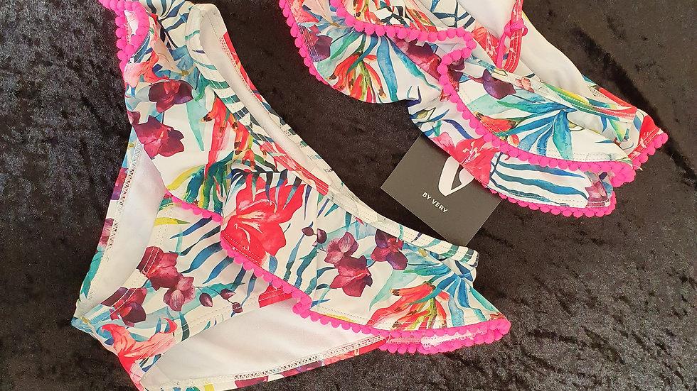 Very Floral PomPom Frill Bikini - RRP £13 Age 4-5 yrs