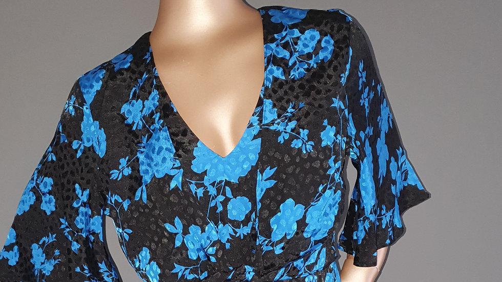 Jacquard Tie Front Kimono Sleeve Dress Size 1r RRP 40