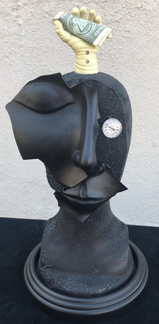High Temperature by Rich Columbo. Sculpture of face with clock and hand holding money.