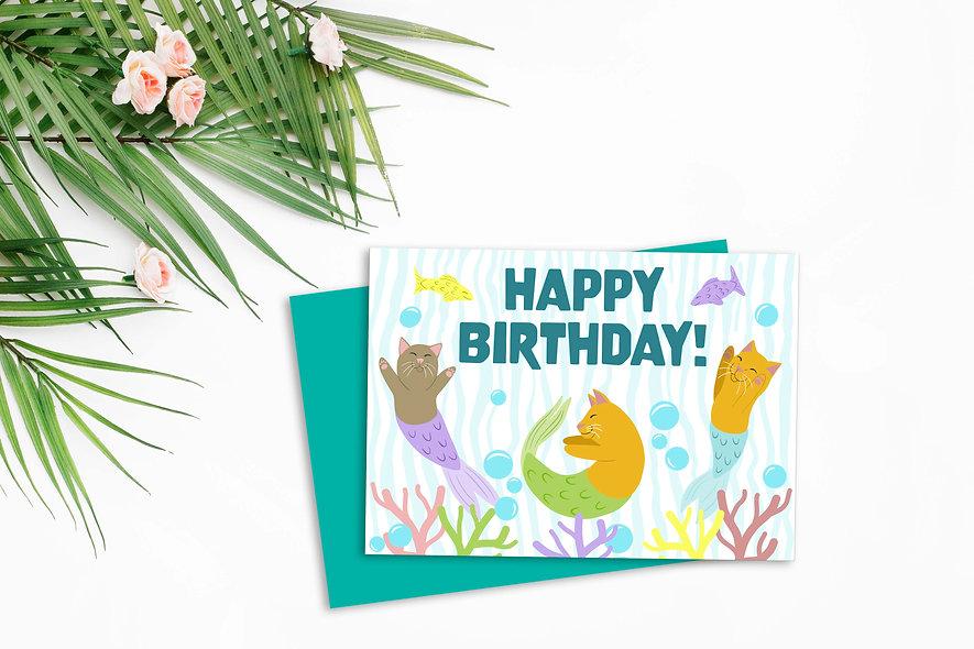 Kitty Mermaid Birthday Card